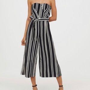 H&M Striped Strapless Jumpsuit